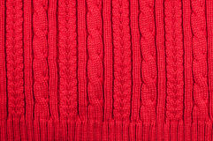 羊毛被编织的红色数据条纹理  图库摄影