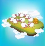 绵羊牧群在乡下风景的 免版税库存图片