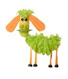 绵羊由新鲜蔬菜做成在被隔绝的背景 库存图片
