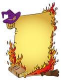 羊皮纸和witchs事情 库存图片