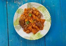 羊羔炖煮的食物用南瓜 免版税库存照片