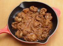 羊羔肾脏bhuna样式咖喱 免版税库存照片