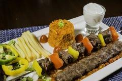 羊肉烤肉阿拉伯食物集合 免版税库存照片