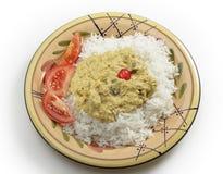 羊肉mughlai咖喱从上面 图库摄影