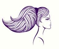 美丽与大容量、马尾辫发型和自然构成 也corel凹道例证向量 库存例证