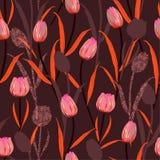 美丽减速火箭手拉的剪影郁金香花剪影和手钓丝时尚的,织品无缝的样式传染媒介设计, 皇族释放例证