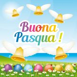 美丽和五颜六色的愉快的复活节贺卡用复活节彩蛋和响铃 意大利例证II 向量例证