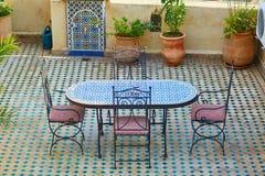 美丽和舒适摩洛哥restauran 库存图片