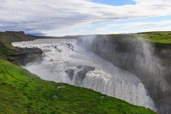 美丽和著名古佛斯瀑布瀑布在冰岛 免版税库存照片