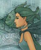 美丽女孩双鱼座签署黄道带 图库摄影