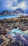 美丽如画的北极海滩美好的挪威风景在冷的挪威海 免版税库存图片