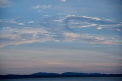 美丽如画的日落在皮吉特湾 图库摄影