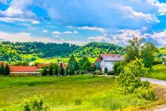 美丽如画的村庄在克罗地亚,旅游胜地 免版税库存图片