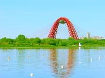 美丽如画的桥梁,荡桨渠道Krylatskoe,莫斯科,俄罗斯 库存照片