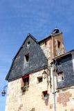 美丽如画的砖房子在翁夫勒诺曼底镇  免版税库存照片