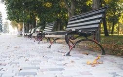 美丽如画的离开的秋天城市公园 库存照片