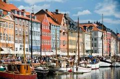 美丽如画的Nyhavn在哥本哈根 免版税图库摄影