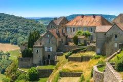 美丽如画的中世纪村庄的看法谷的 免版税库存图片