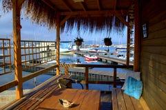 美丽如画的休息区,索佐波尔口岸 免版税图库摄影