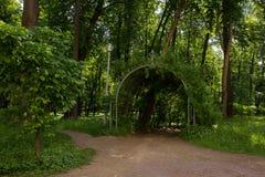 美丽如画的入口到被成拱形的走廊(庭院荫径)里上升的植物 阿尔汉格尔斯克州村庄  俄国 免版税库存图片