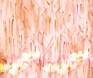 美丽如画的夏天花卉水彩背景, 库存照片