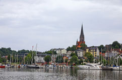 美丽如画的看法弗伦斯堡市,德国 免版税库存图片