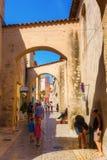 美丽如画的胡同在圣特罗佩,南法国 库存图片