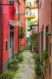 美丽如画的胡同在蒙泰罗索阿尔马雷,意大利 免版税库存照片