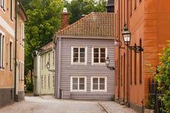 美丽如画的角落。Vadstena。瑞典 库存照片