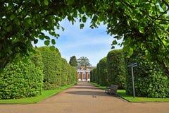 美丽如画的绿色胡同在肯辛顿庭院里,伦敦 库存图片