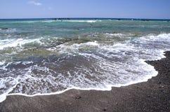 美丽如画的黑Pebble海滩在特内里费岛南部的Las Galletas  免版税图库摄影