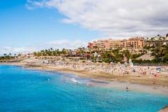 美丽如画的El杜克海滩在特内里费岛 免版税库存照片