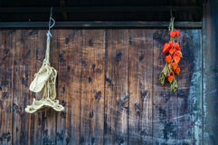美丽木墙壁用明亮的空泡荚和传统 图库摄影