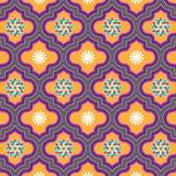 美丽橙色和紫罗兰装饰了与花卉设计的摩洛哥无缝的样式 库存例证