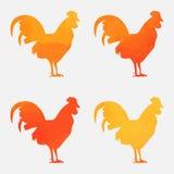 美丽水彩的雄鸡 免版税库存图片