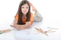 美丽画女孩小的铅笔 免版税库存照片
