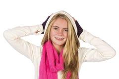 美丽白肤金发青少年 免版税库存图片