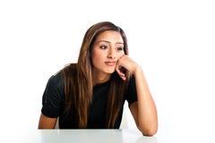 年轻美丽的不快乐的亚裔印地安少年 库存图片