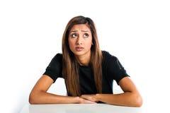 年轻美丽的不快乐的亚裔印地安少年 免版税库存照片