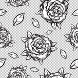 美丽的与哥特式玫瑰的葡萄酒无缝的样式在线性样式 黑白减速火箭的例证 捷克人,纹身花刺艺术 库存例证