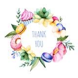 美丽的与牡丹,花,叶子,多汁植物,分支,鲜美杯形蛋糕,蝴蝶花花,蛋白杏仁饼干, d的水彩圆的框架边界 向量例证