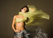 美丽的丝绸妇女 免版税库存照片