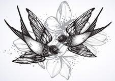 美丽的两只飞行的燕子鸟的葡萄酒减速火箭的样式例证 在白色隔绝的手拉的传染媒介艺术品 库存例证