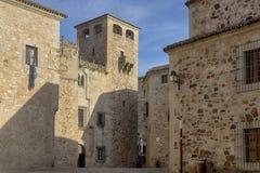 美丽的中世纪市卡塞里斯在埃斯特雷马杜拉 库存照片