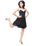 美丽的中国兴奋女孩跳的年轻人 库存照片