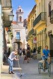 美丽的中央步行街道在哈瓦那 免版税图库摄影