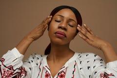 美丽的中年非洲人妇女画象  beauvoir 库存图片