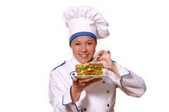 美丽的主厨图象妇女 库存图片