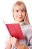 美丽的书妇女年轻人 免版税库存照片