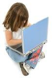 美丽的五个女孩膝上型计算机老年 免版税库存图片